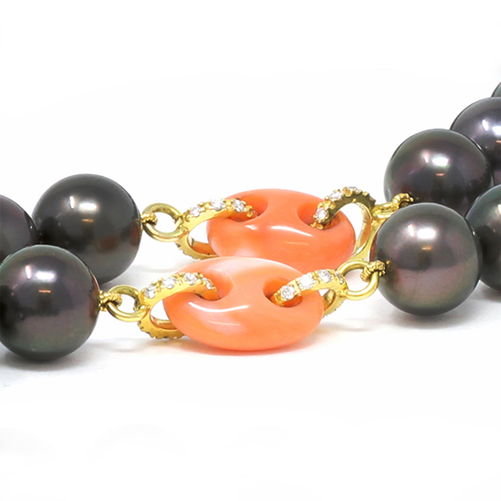 Rosaria Varra Tahitian Pearl, Natural Coral and Diamond Necklace spacers view