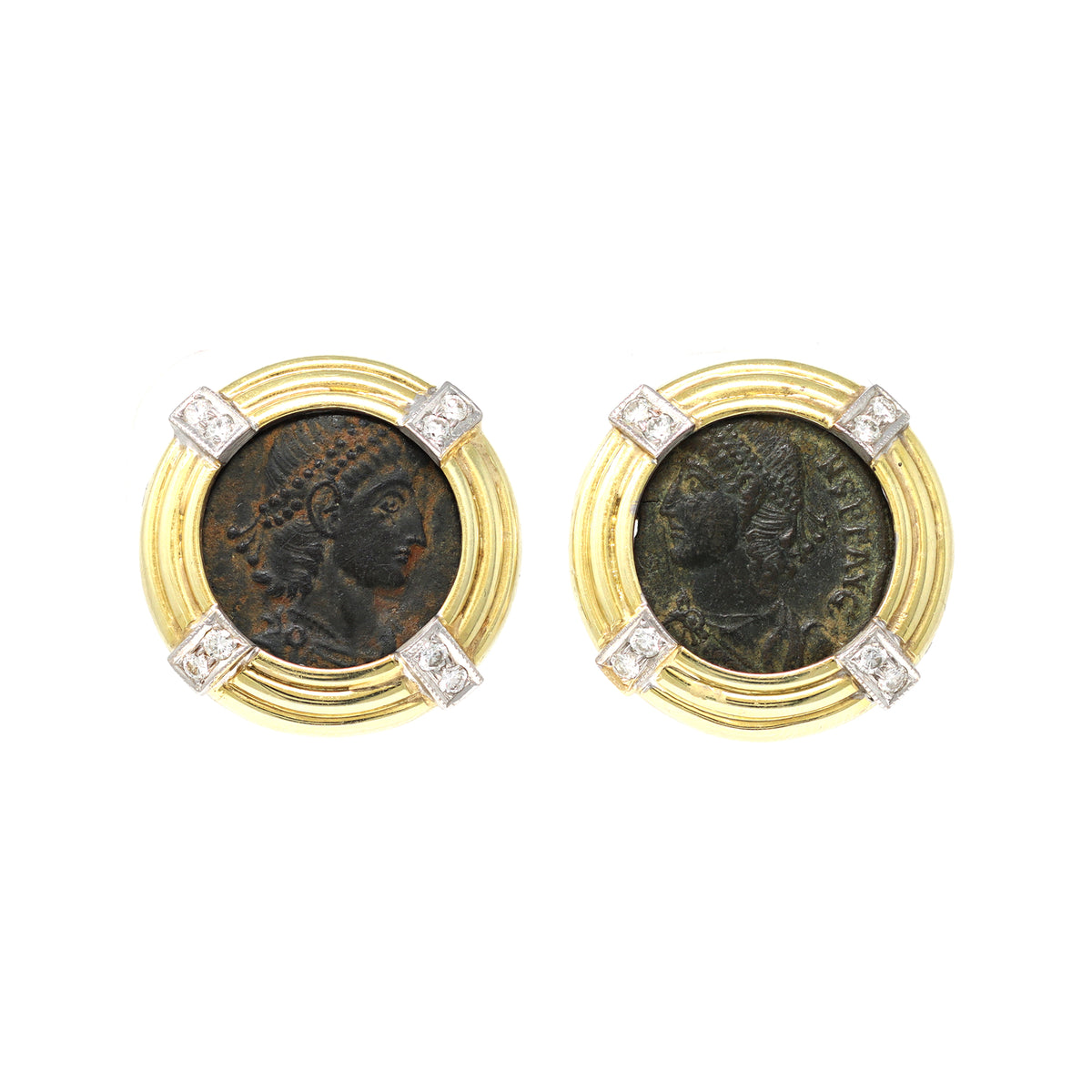 Ancient Roman Coin Clip On Earrings with Diamond Accents in 18k front view