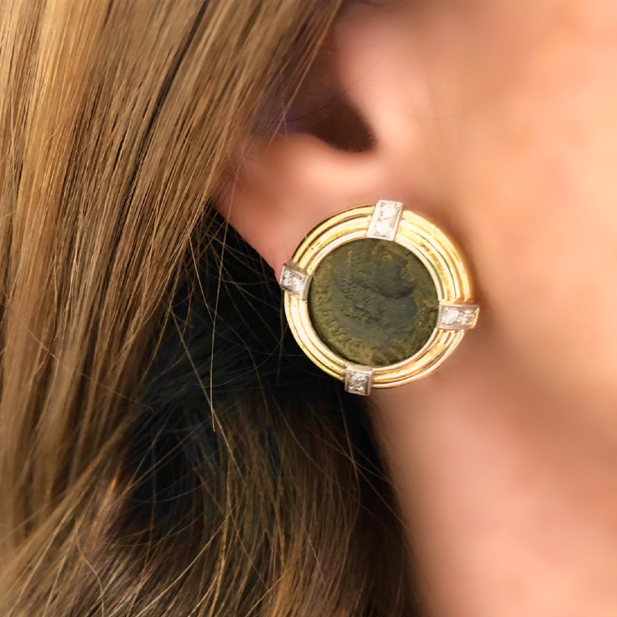 Ancient Roman Coin Clip On Earrings with Diamond Accents in 18k model view