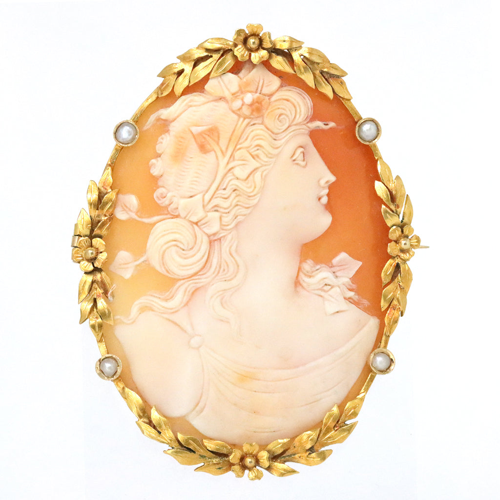 Antique Cameo Brooch with Seed Pearl Accents in 18 Karat front view