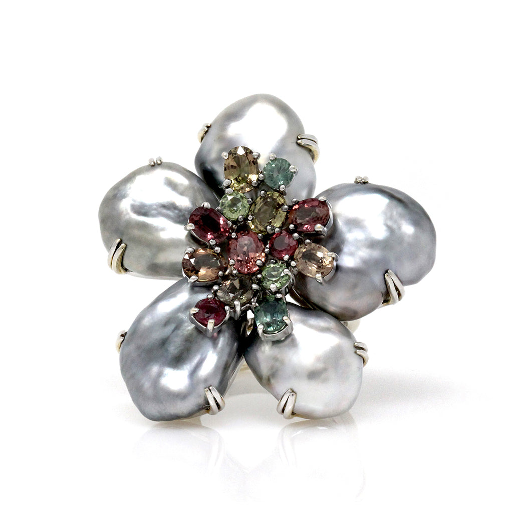 "Keshi Pearl, Multi Color Sapphire and 18 Karat Gold ""Biwa Flower"" Ring front"