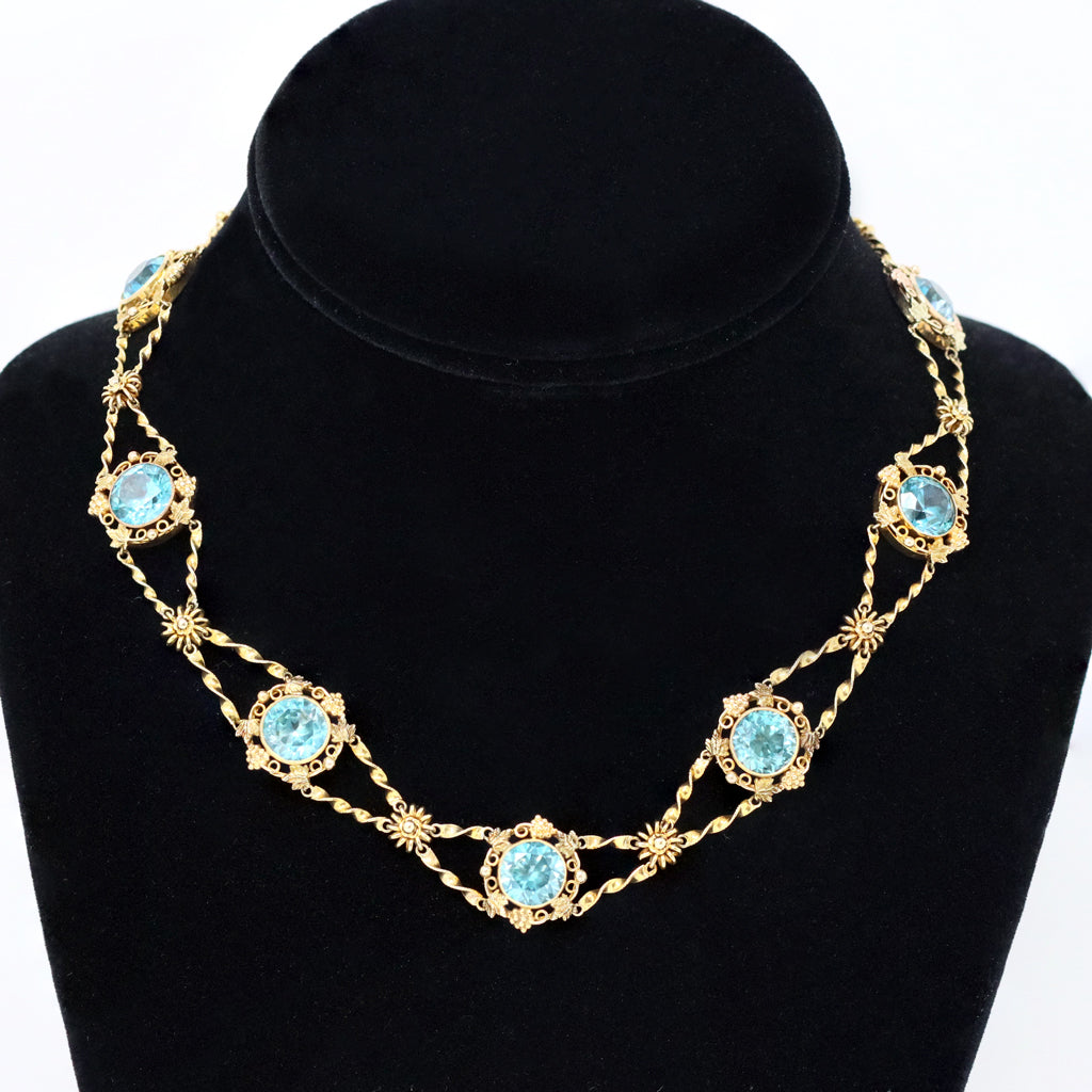 Blue Zircon and gold links Chocker Necklace in 14 Karat Gold, circa 1920 display view