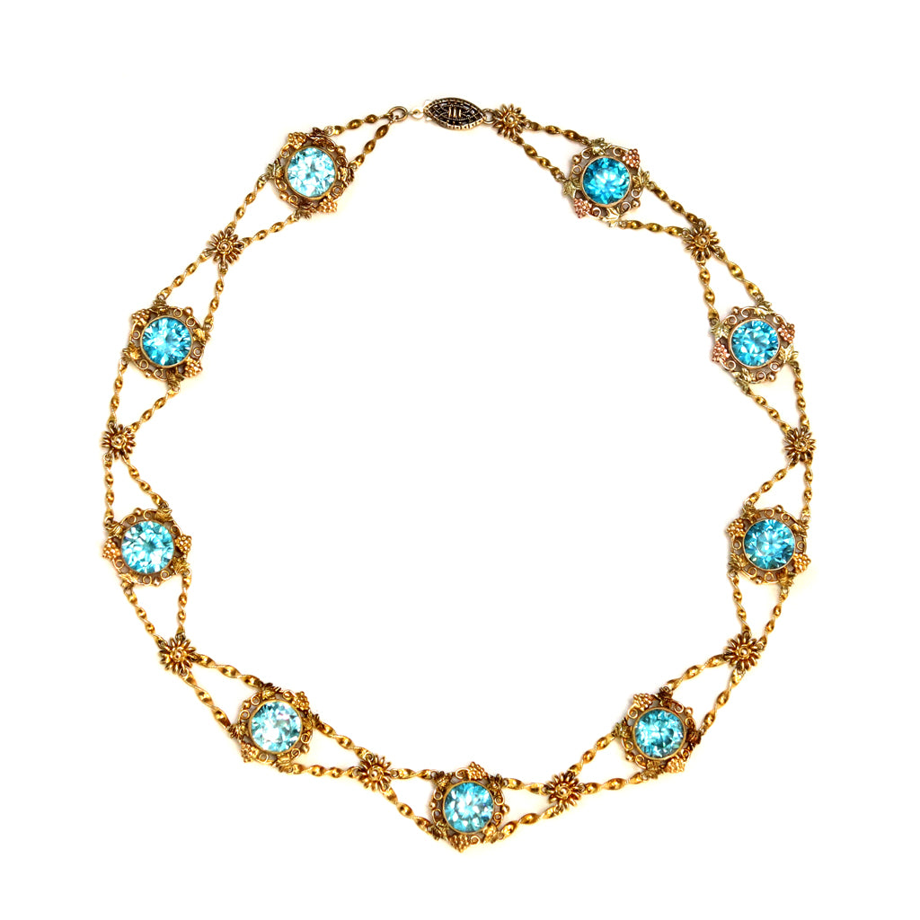 Blue Zircon and gold links Chocker Necklace in 14 Karat Gold, circa 1920 top view
