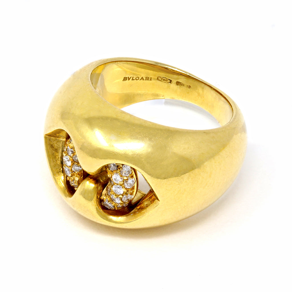 Bvlgari Cuore Diamond Gold Cocktail Ring in 18 Karat Yellow Gold makers mark and hallmarks view