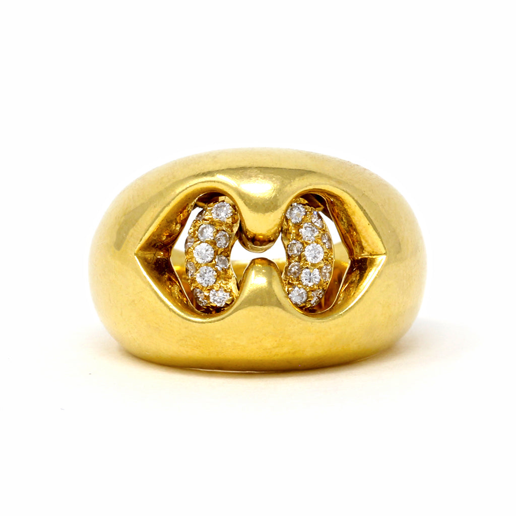 Bvlgari Cuore Diamond Gold Cocktail Ring in 18 Karat Yellow Gold top view