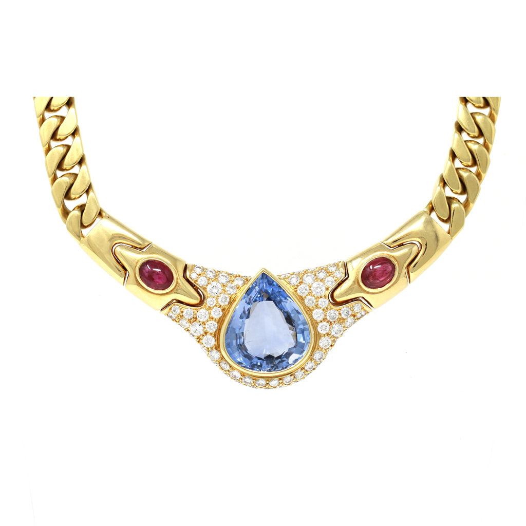 Bvlgari Pear-Shaped Ceylon Sapphire, Ruby and Diamond Necklace in 18k Gold front view