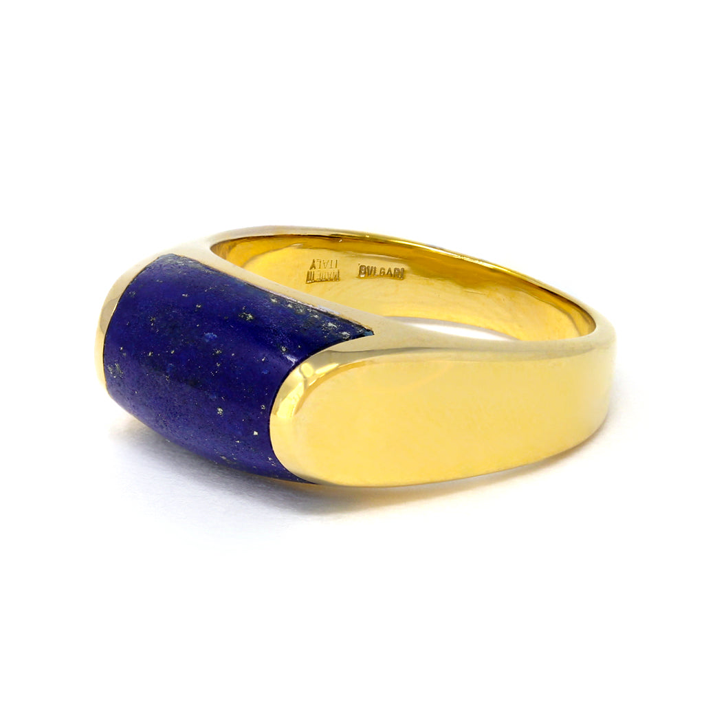 Bvlgari Tronchetto Lapis Lazuli Ring in 18 Karat Gold  Makers Mark view