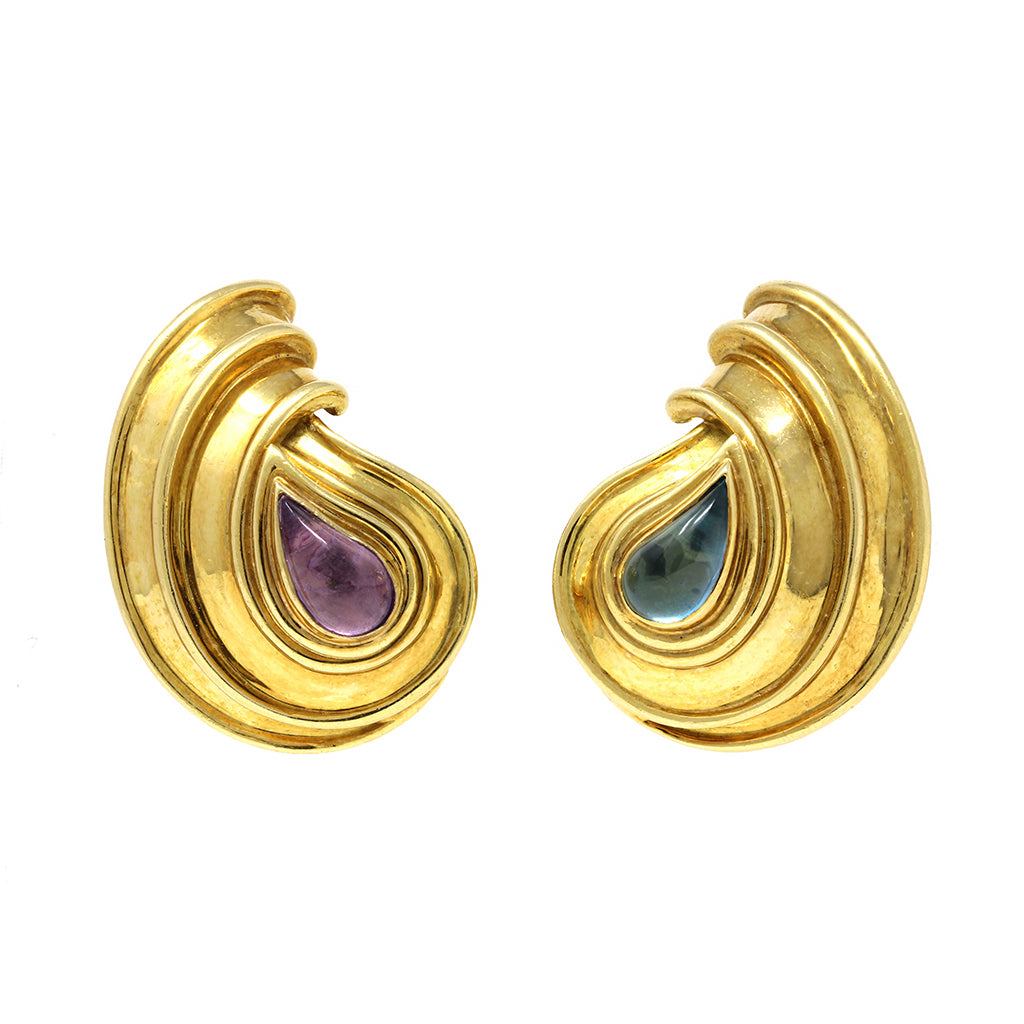 Chopard Casmir 18 karat yellow Gold amethyst and aquamarine clip on earrings