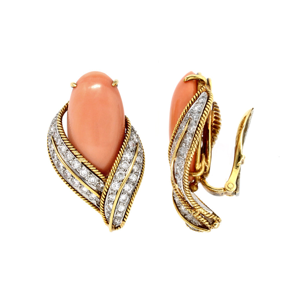 David Webb Pink Coral and Diamond Clip-on Earrings in 18k Gold front and side view