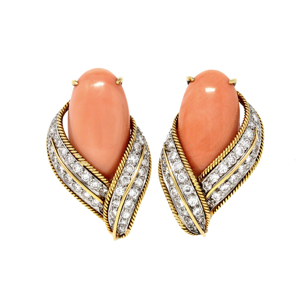 David Webb Pink Coral and Diamond Clip-on Earrings in 18k Gold front view