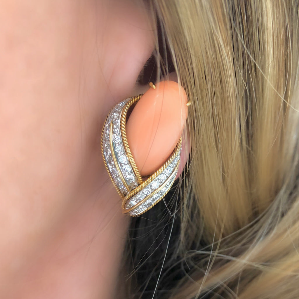 David Webb Pink Coral and Diamond Clip-on Earrings in 18k Gold model view