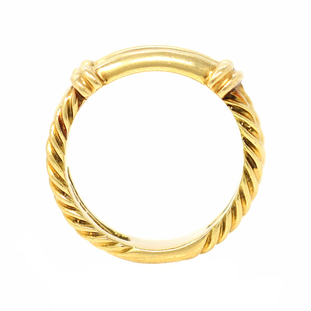 Signed David Yurman 18 Karat Yellow Gold Cable Twist Band Ring front view