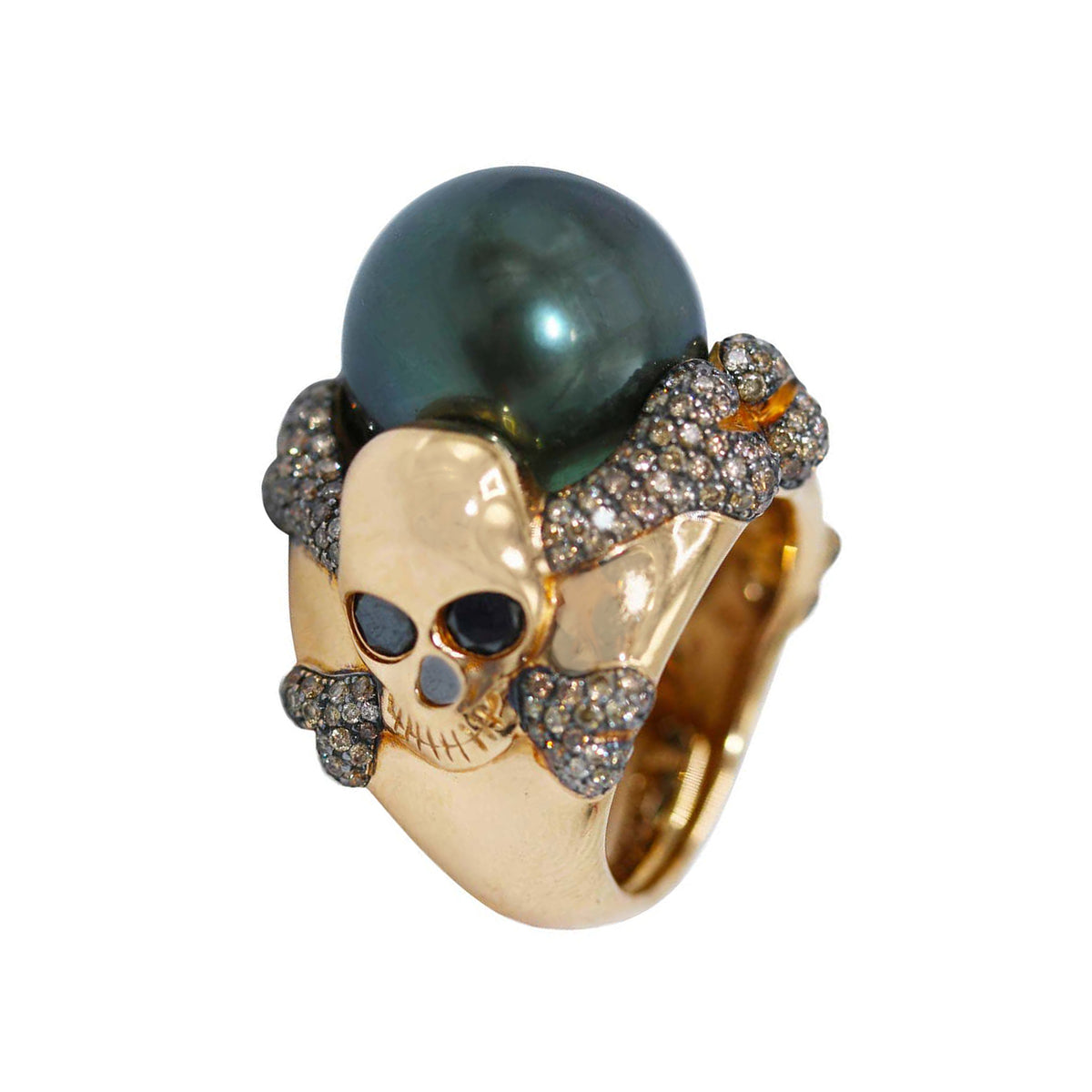 De Grisogono South Sea Pearl and Colored Diamond Skull Ring