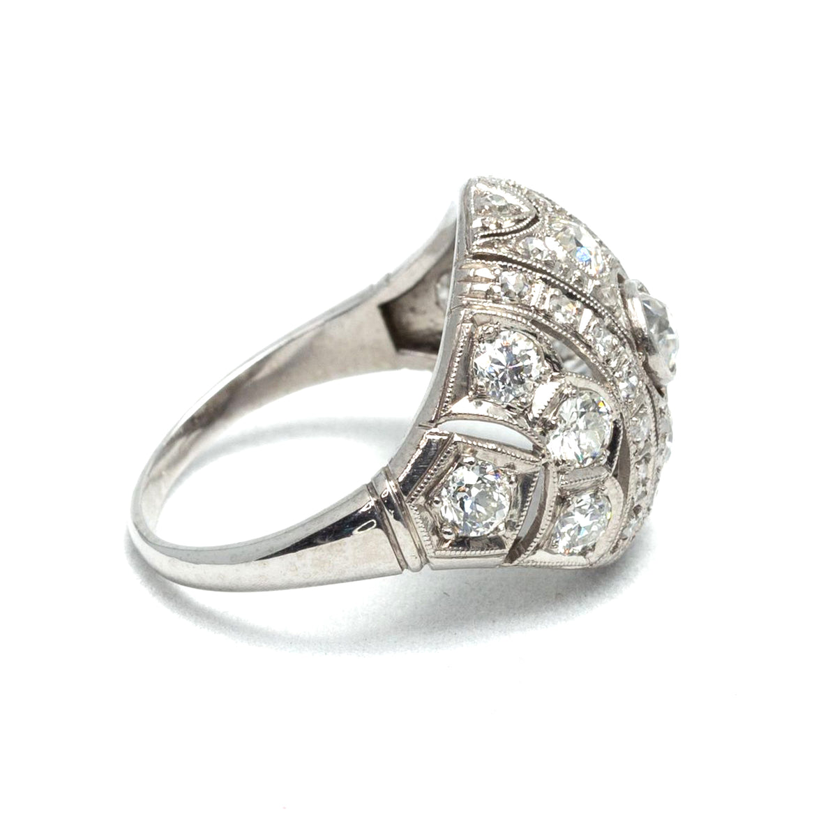 Antique Art Deco Diamond Dome Ring in Platinum