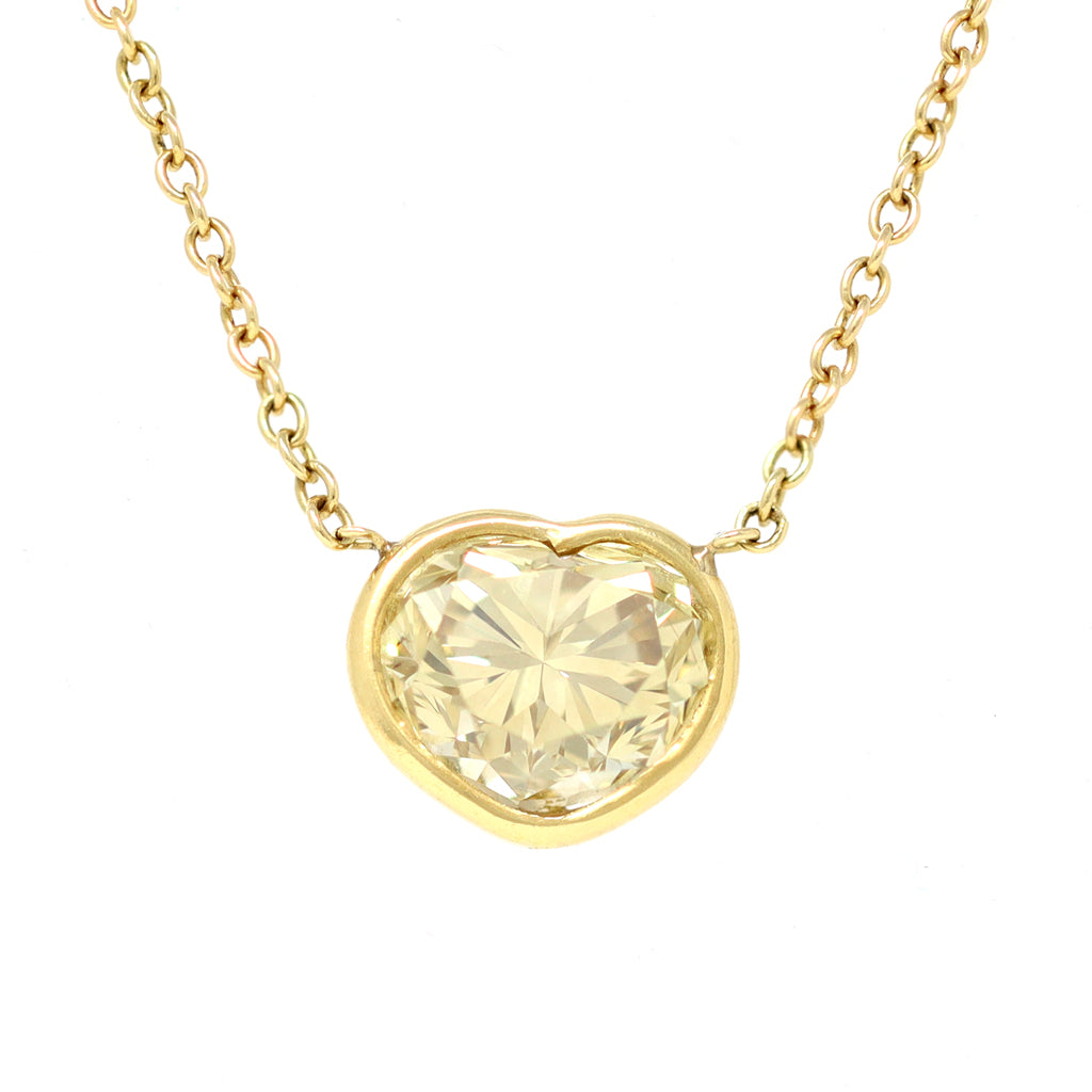 3.65 Carat Natural Fancy Yellow Heart Shape Diamond Pendant with EGL Report front view
