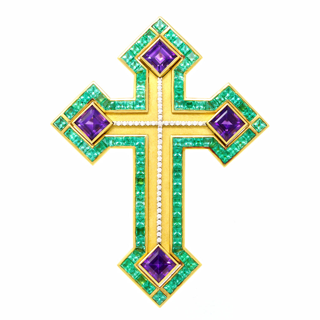 Cross with Emeralds, Amethysts and Diamonds Set in 22 Karat and 18 Karat Gold front view