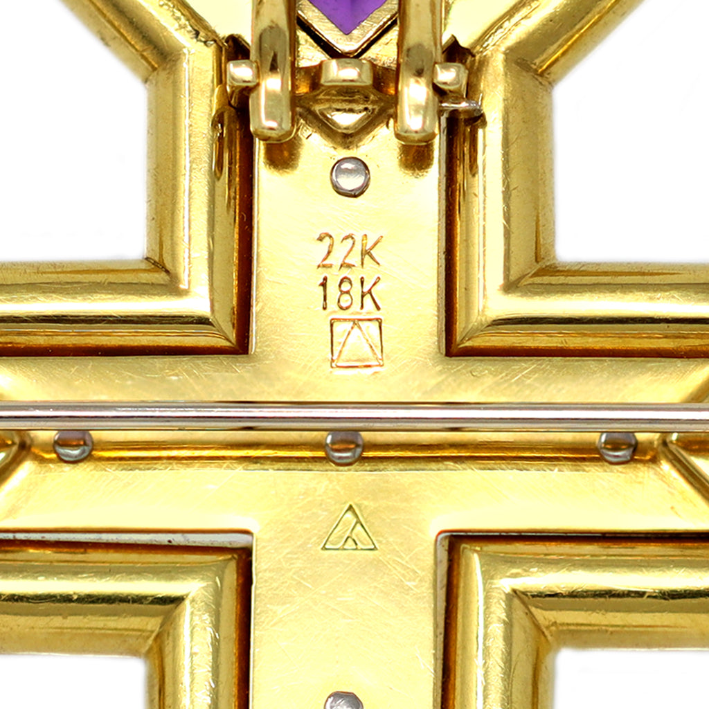 Cross with Emeralds, Amethysts and Diamonds Set in 22 Karat and 18 Karat Gold hallmarks view