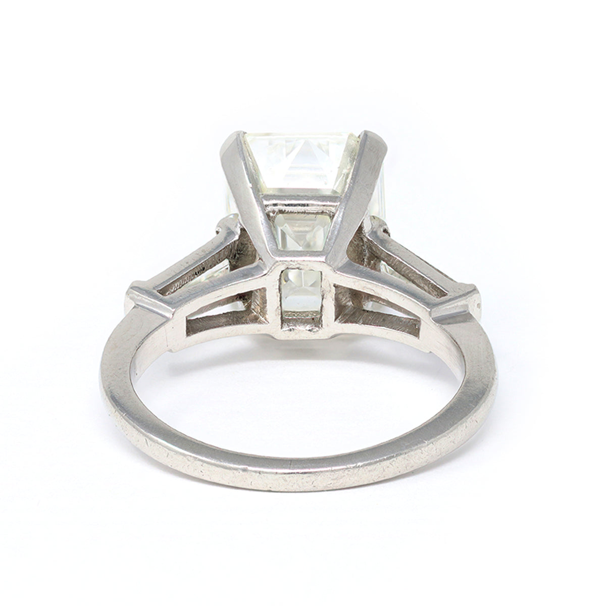 3.83 Carat Emerald-Cut Diamond Engagement Ring in Platinum with GIA Report back view