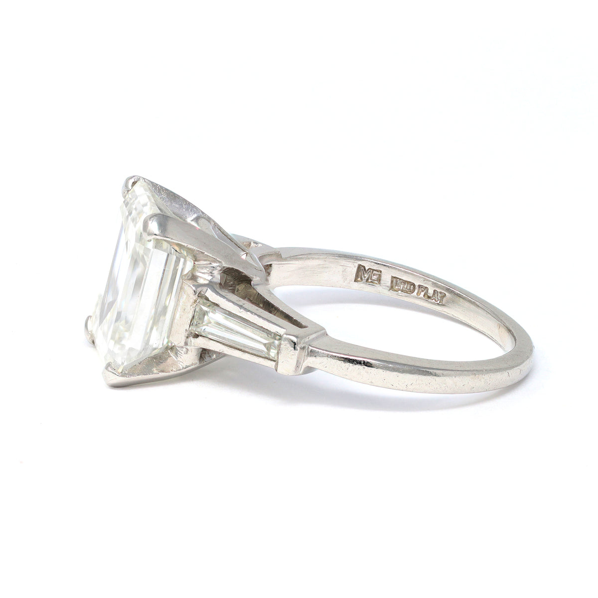 3.83 Carat Emerald-Cut Diamond Engagement Ring in Platinum with GIA Report hallmarks view