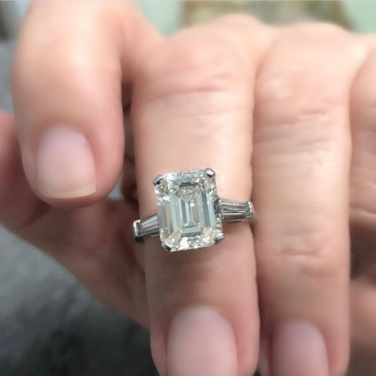 3.83 Carat Emerald-Cut Diamond Engagement Ring in Platinum with GIA Report model view