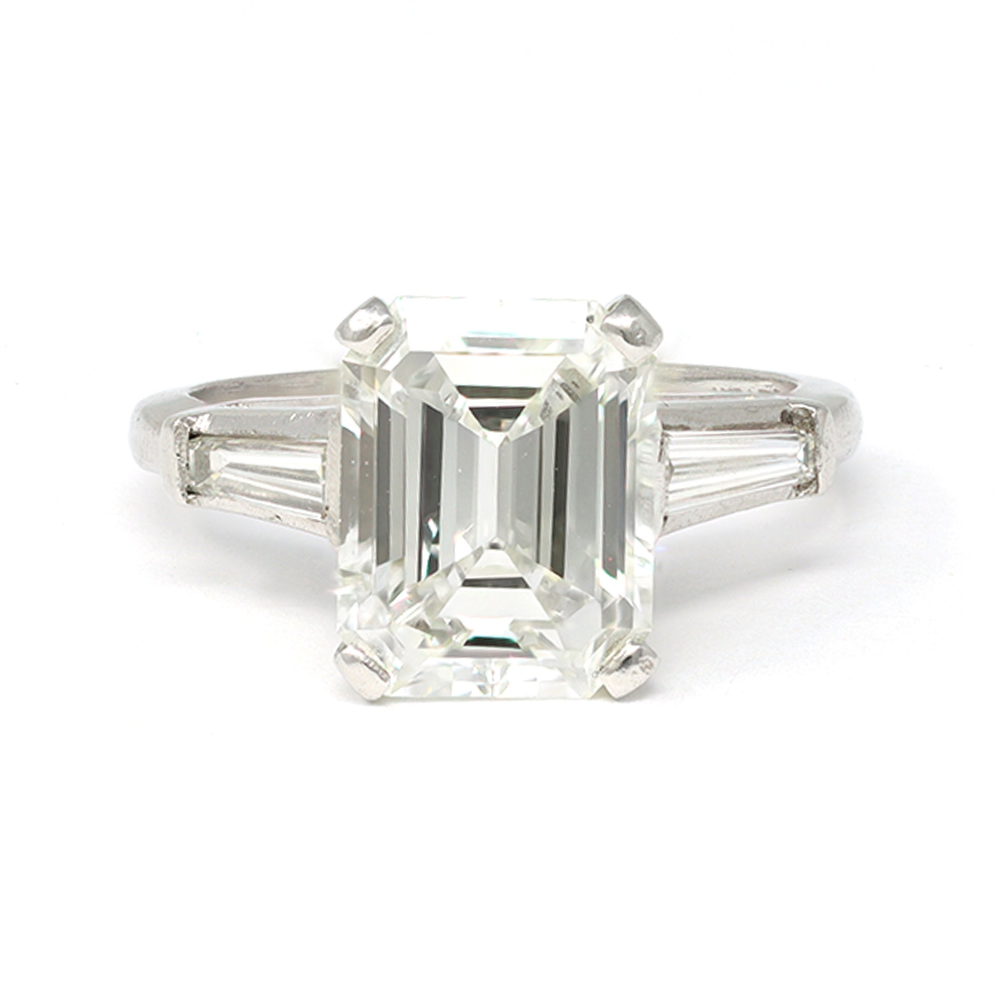 3.83 Carat Emerald-Cut Diamond Engagement Ring in Platinum with GIA Report front view