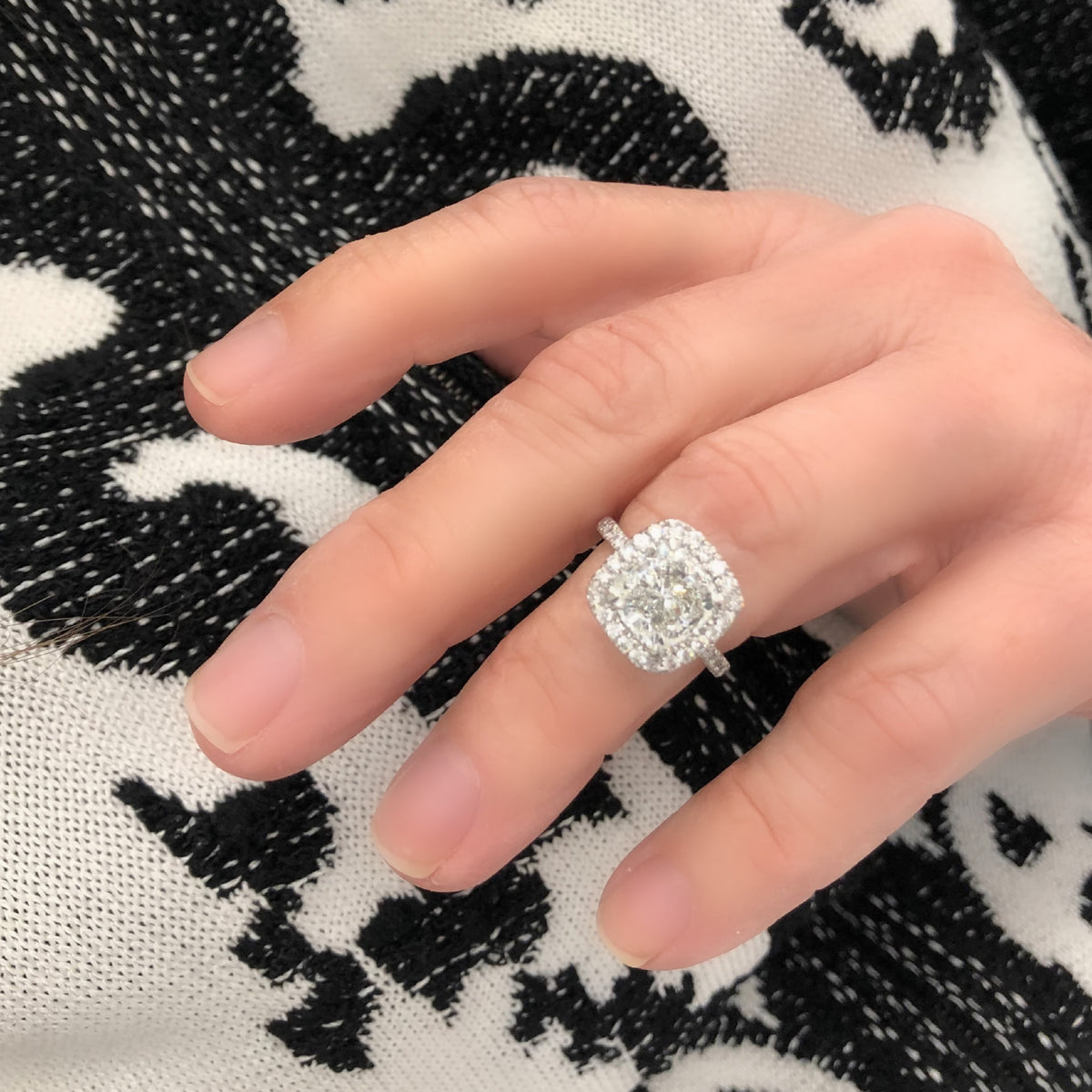 GIA Certified 3.07 Cushion Cut Solitaire Diamond Halo Ring in Platinum model view