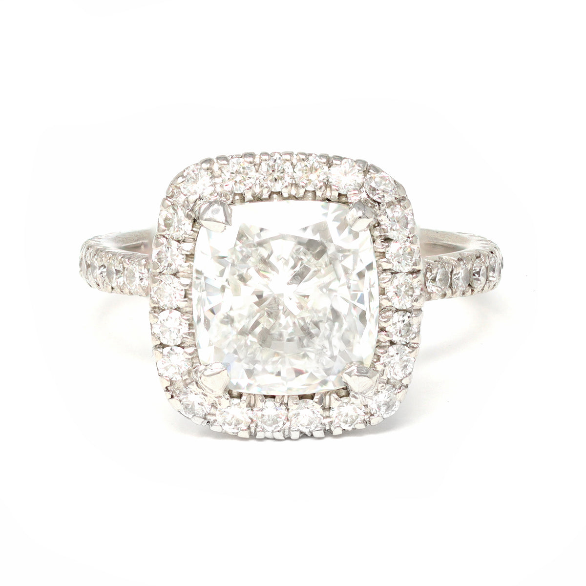 GIA Certified 3.07 Cushion Cut Solitaire Diamond Halo Ring in Platinum top view