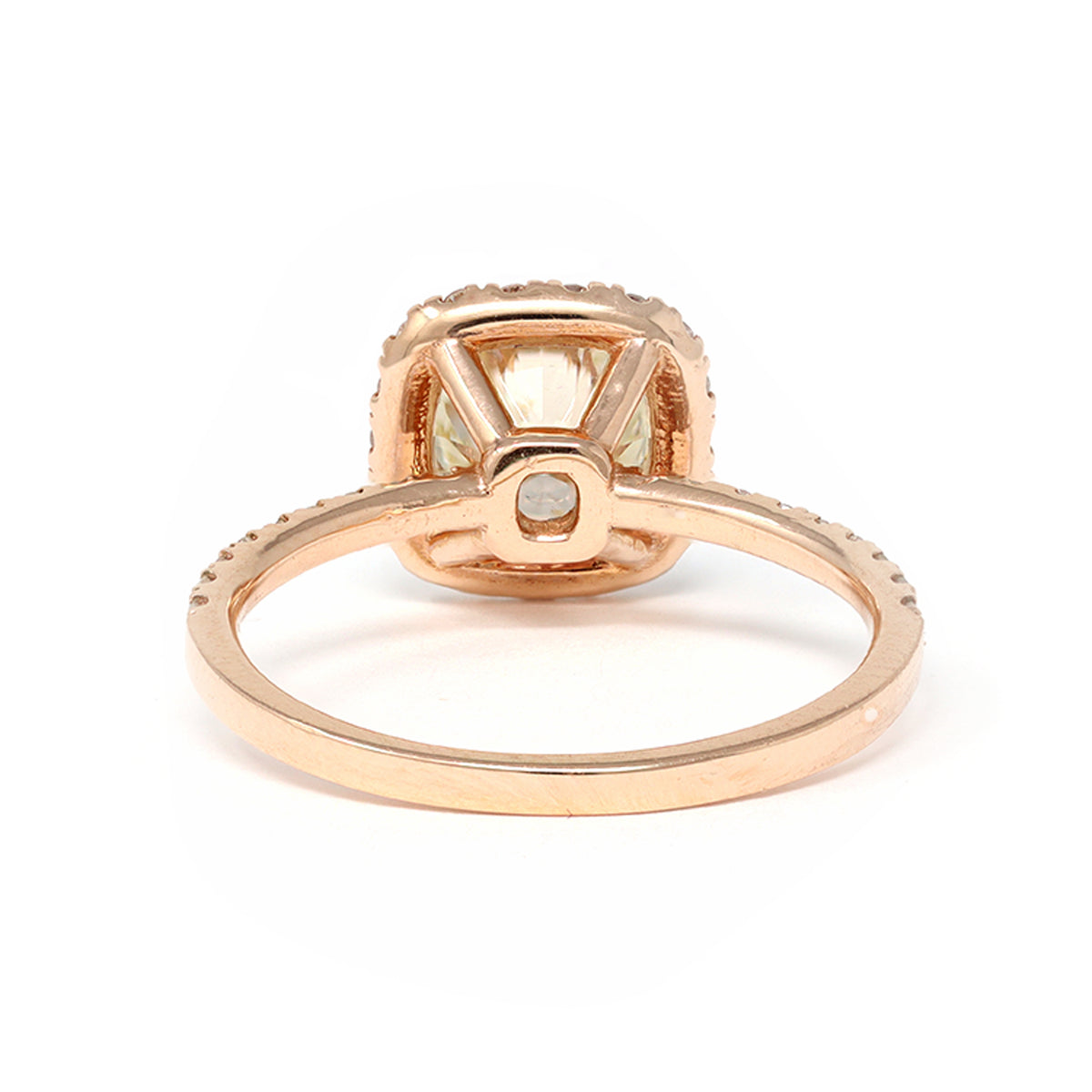 GIA Certified Modern Halo Solitaire 1.23 Carat Diamond Ring in 14 Karat Gold back view