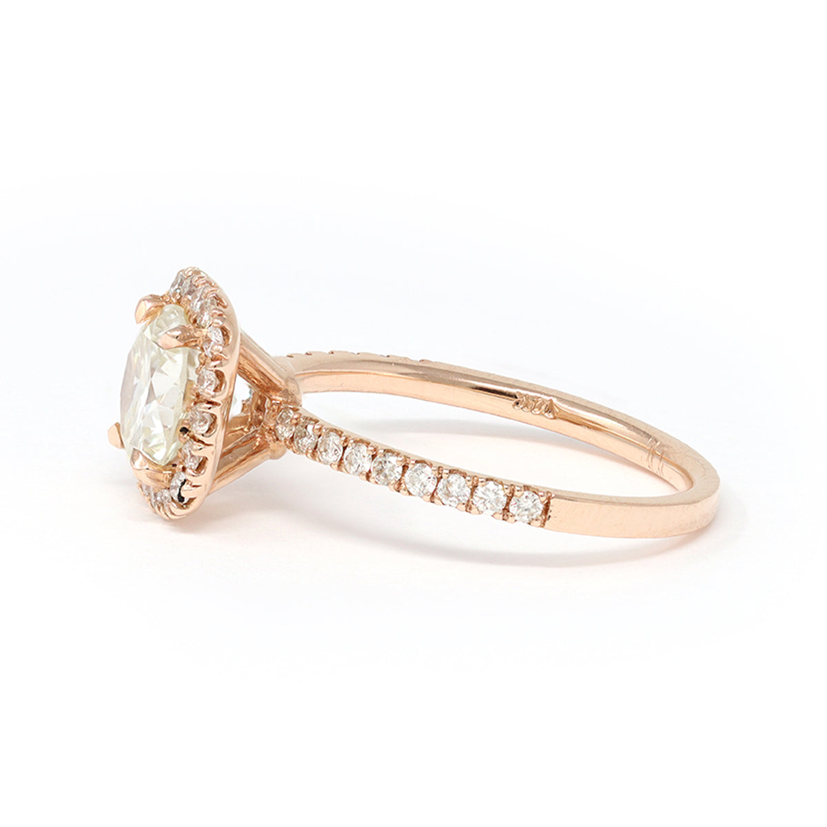 GIA Certified Modern Halo Solitaire 1.23 Carat Diamond Ring in 14 Karat Gold side view