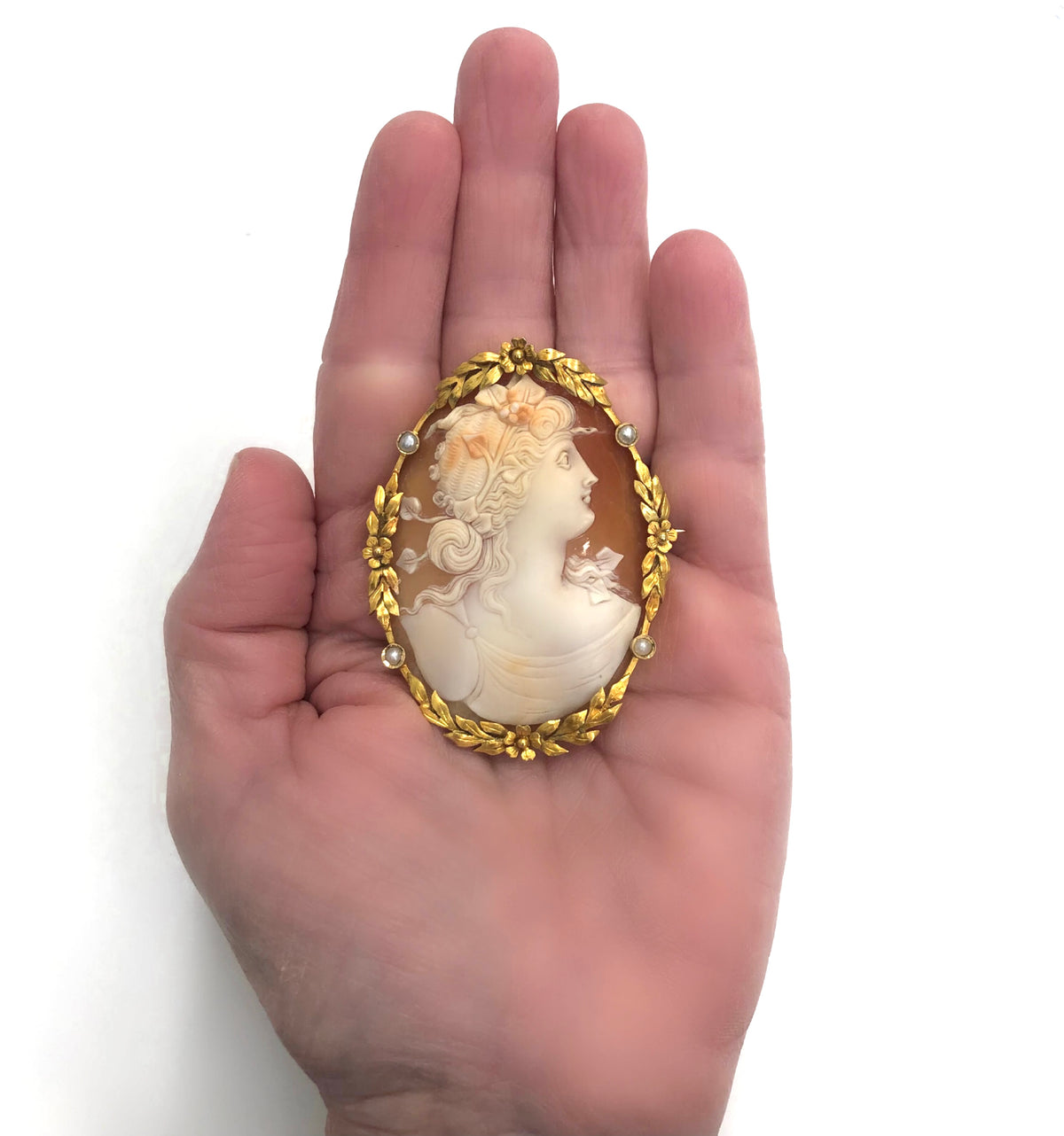 Antique Cameo Brooch with Seed Pearl Accents in 18 Karat model view