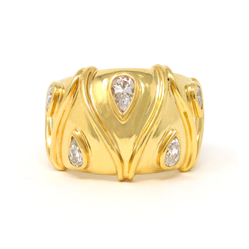 Pear Shape Diamonds Studded Wide Band in 18 Karat a Yellow Gold top view