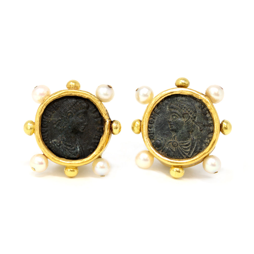 Ancient Roman Coins and Pearls Clip-on Earrings in High Karat Gold front view