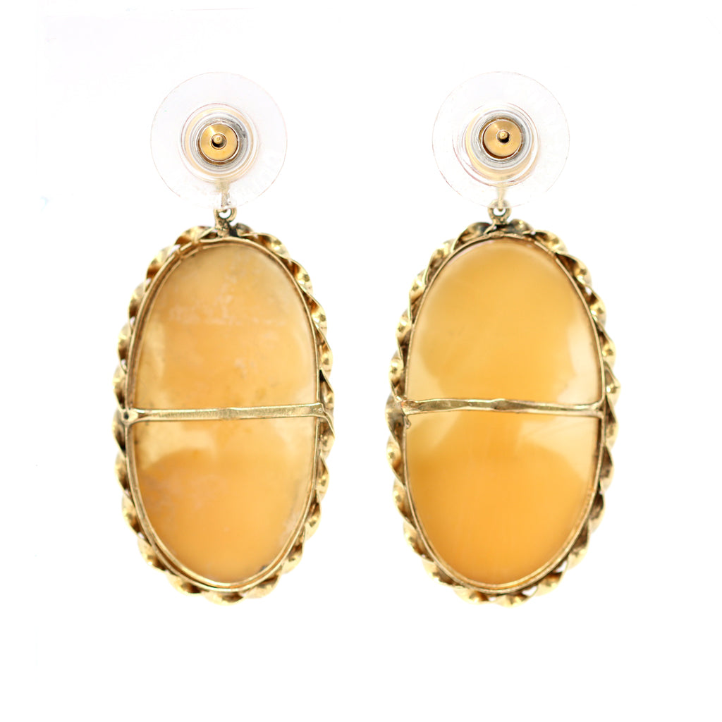 Italian Shell Cameo and Coral Dangling Earrings in 14 Karat Gold back view