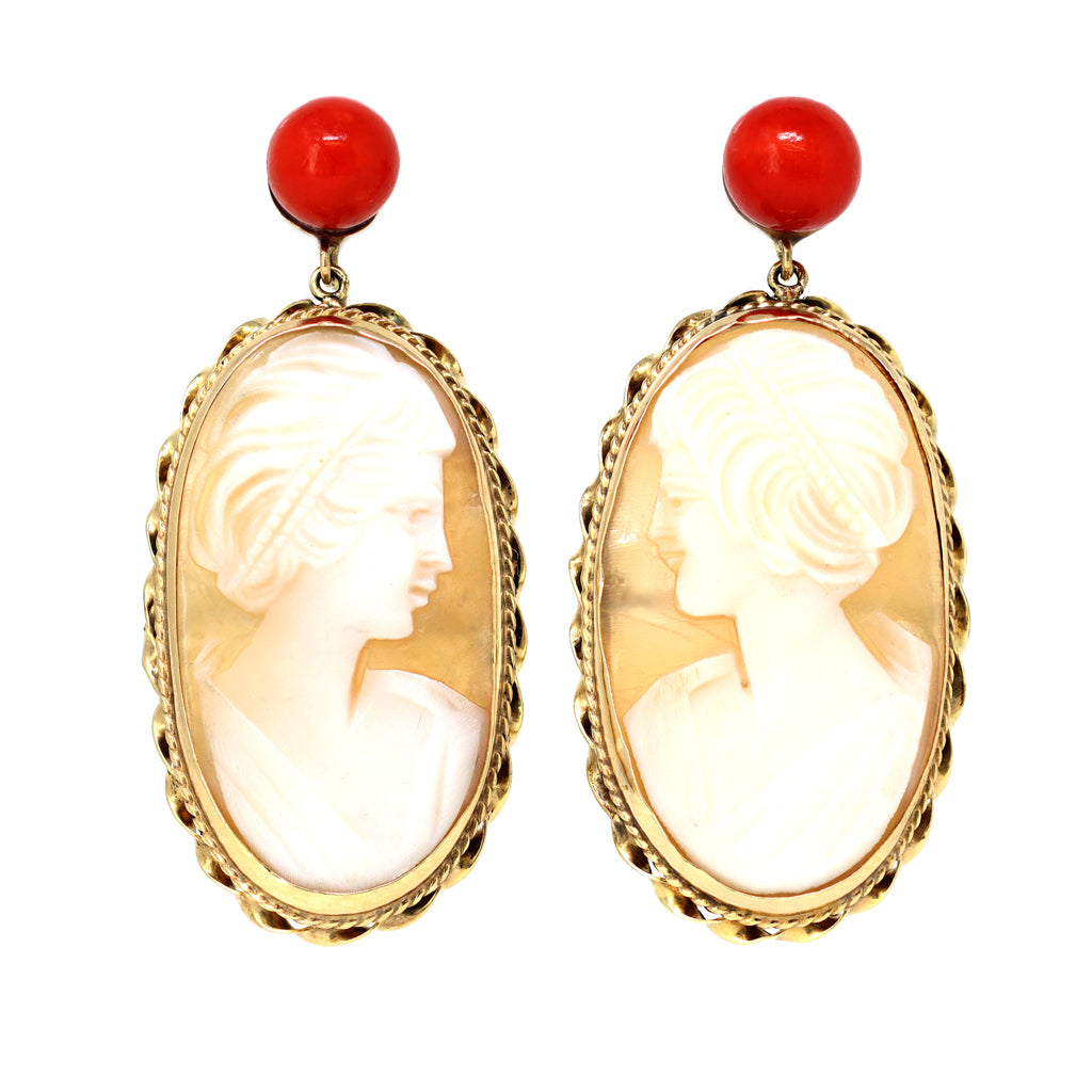 Italian Shell Cameo and Coral Dangling Earrings in 14 Karat Gold front view
