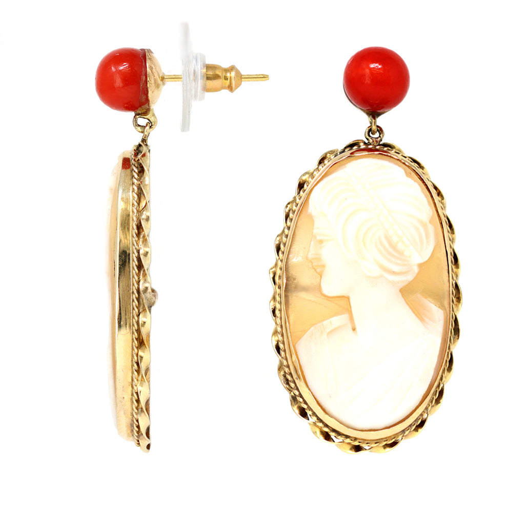 Italian Shell Cameo and Coral Dangling Earrings in 14 Karat Gold front and side view