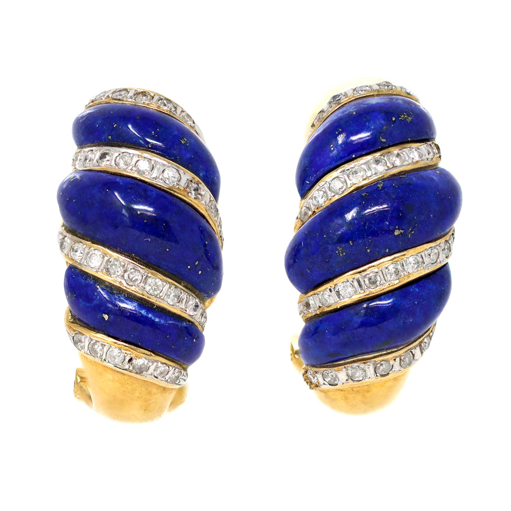 Carved Lapis Lazuli and Diamonds Swirl Clip-On Earrings in 14 Karat Gold, circa 1970 front view