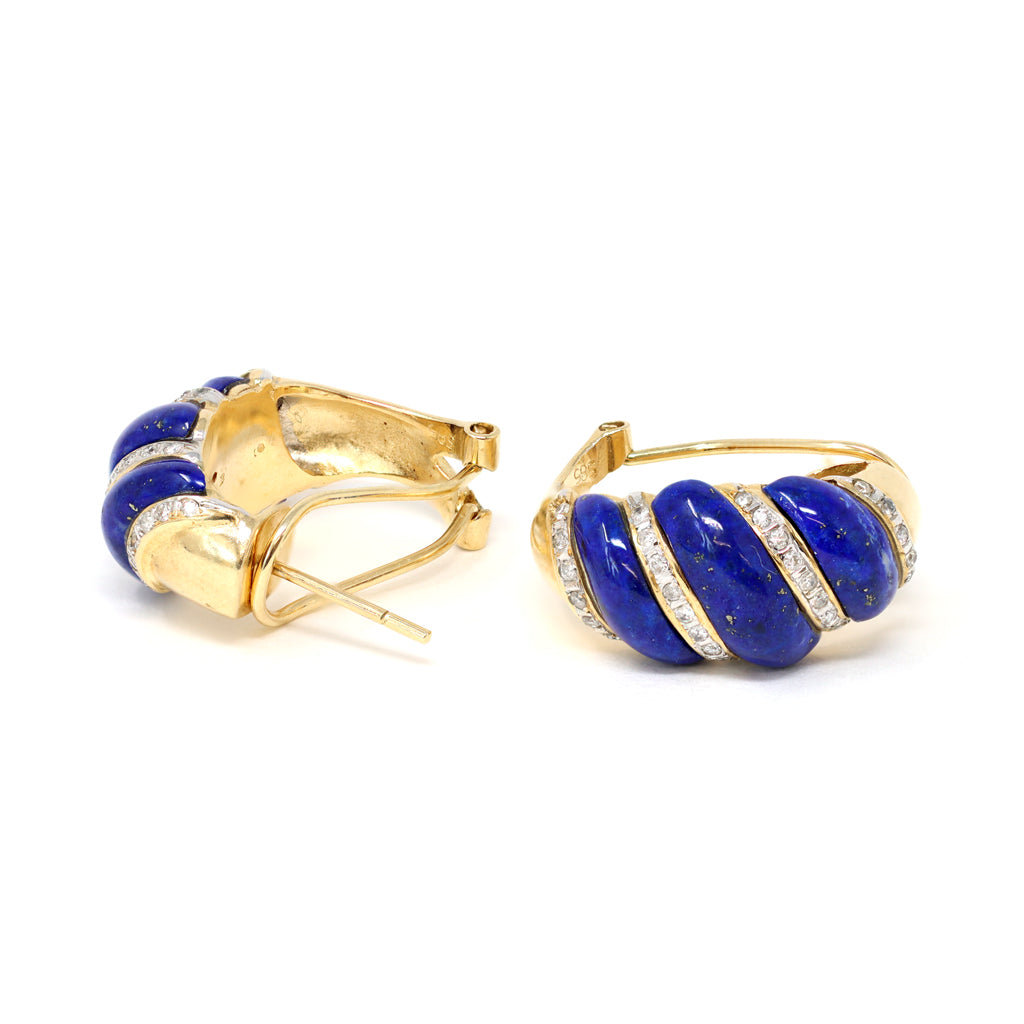 Carved Lapis Lazuli and Diamonds Swirl Clip-On Earrings in 14 Karat Gold, circa 1970 side view