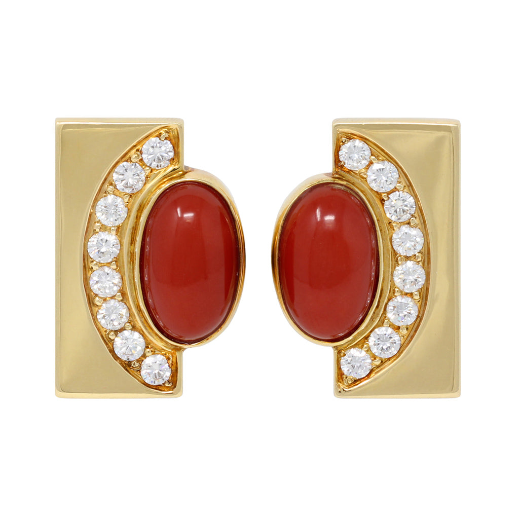 Coral and Diamond 18 Karat Yellow Gold Ear Clips front view