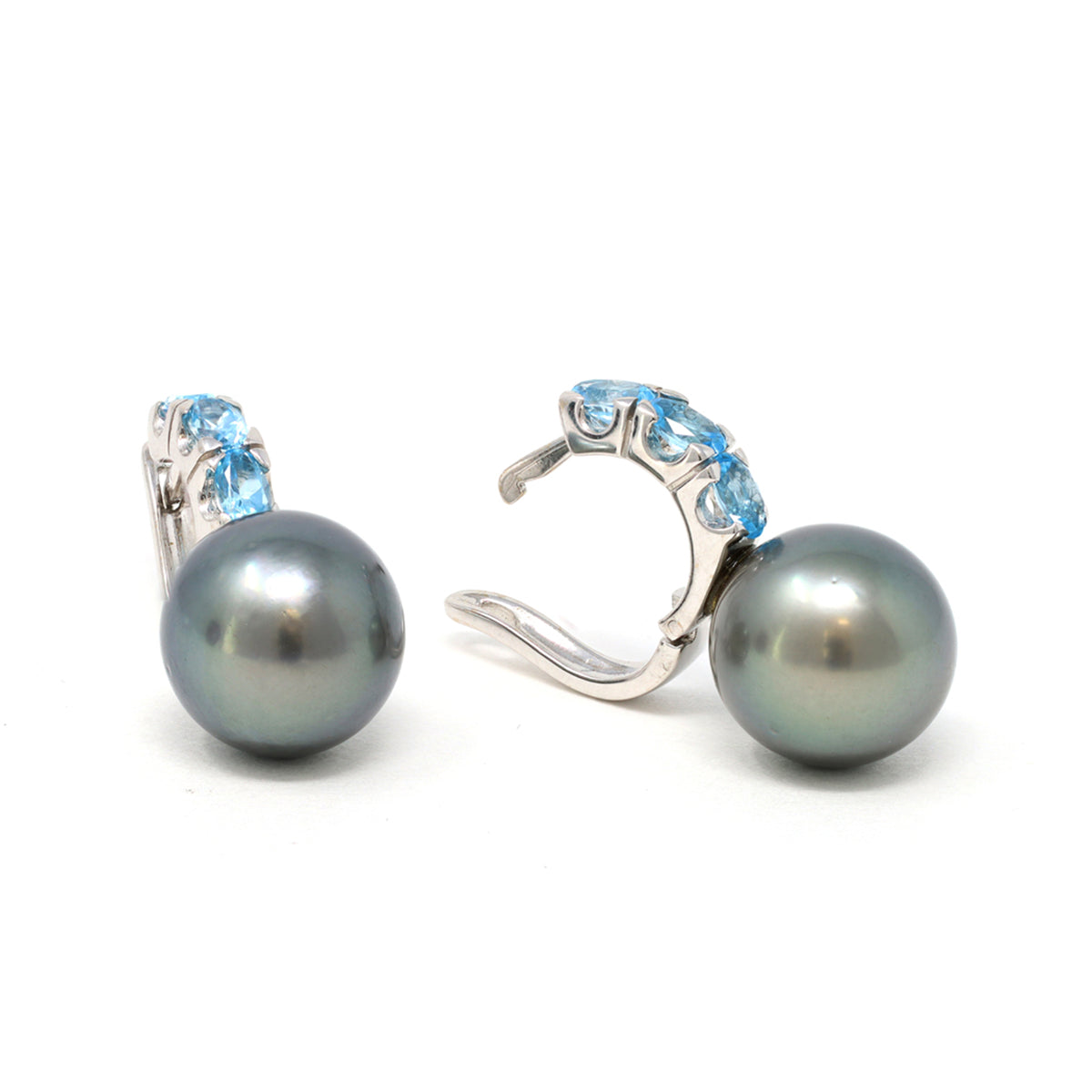 Blue Topaz Hoop Earring with Tahitian Pearl in 18 Karat Gold side view