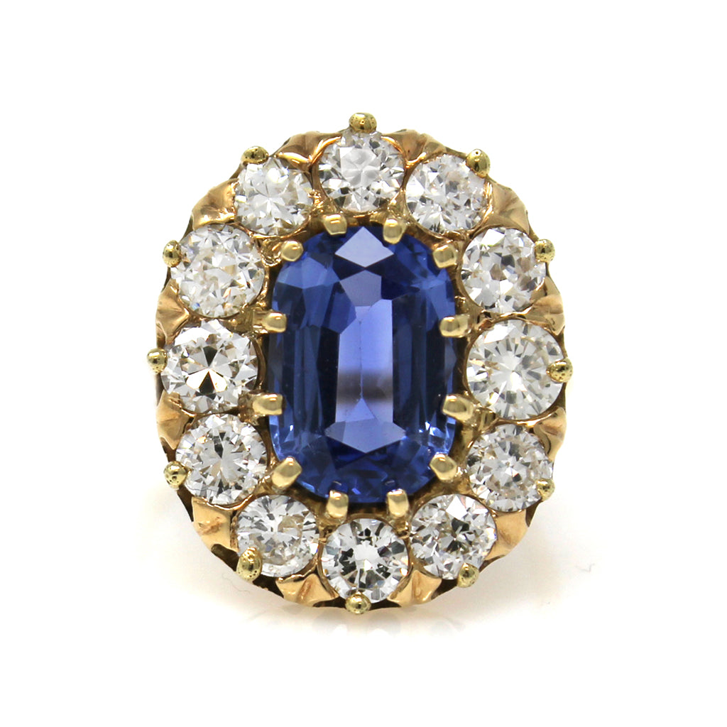 1940s Original Retro Ceylon Sapphire and Diamond Ring top view