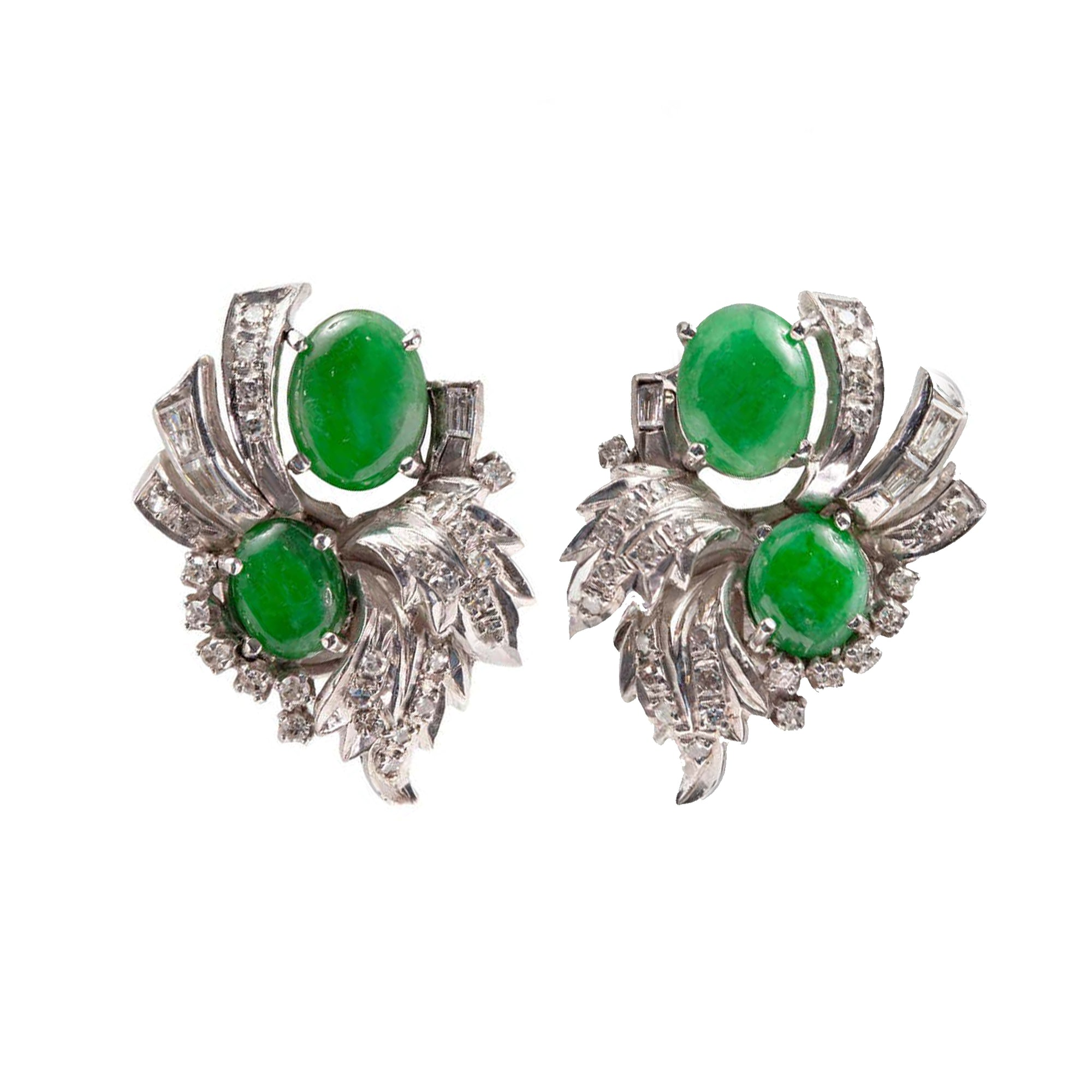 Pair of 1950s Natural Apple Green Jadeite Jade and Diamond Clip-On Earrings