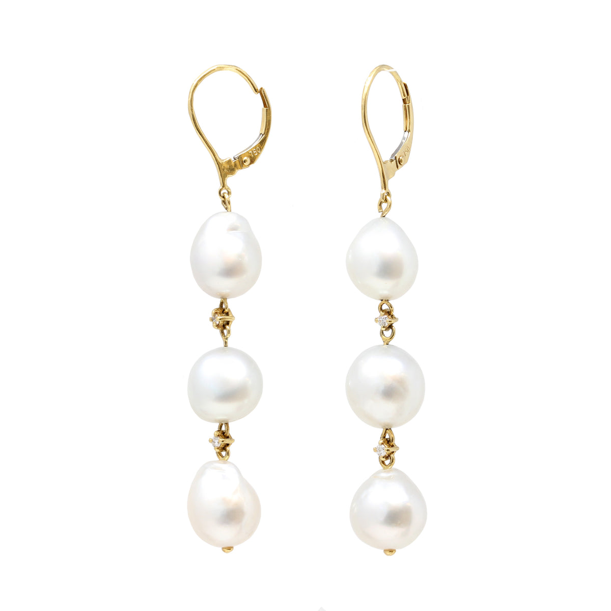 Pair of South Sea Baroque Pearls 18k Gold Dangling Earrings with Diamond Accents