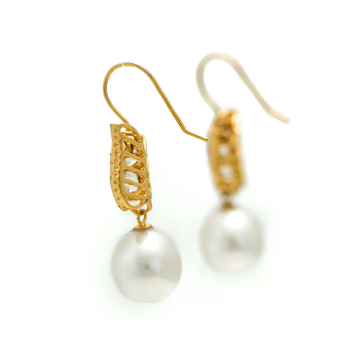 Pair of South Sea Pearl and Rose Cut Diamond Earrings in 18 Karat Yellow Gold