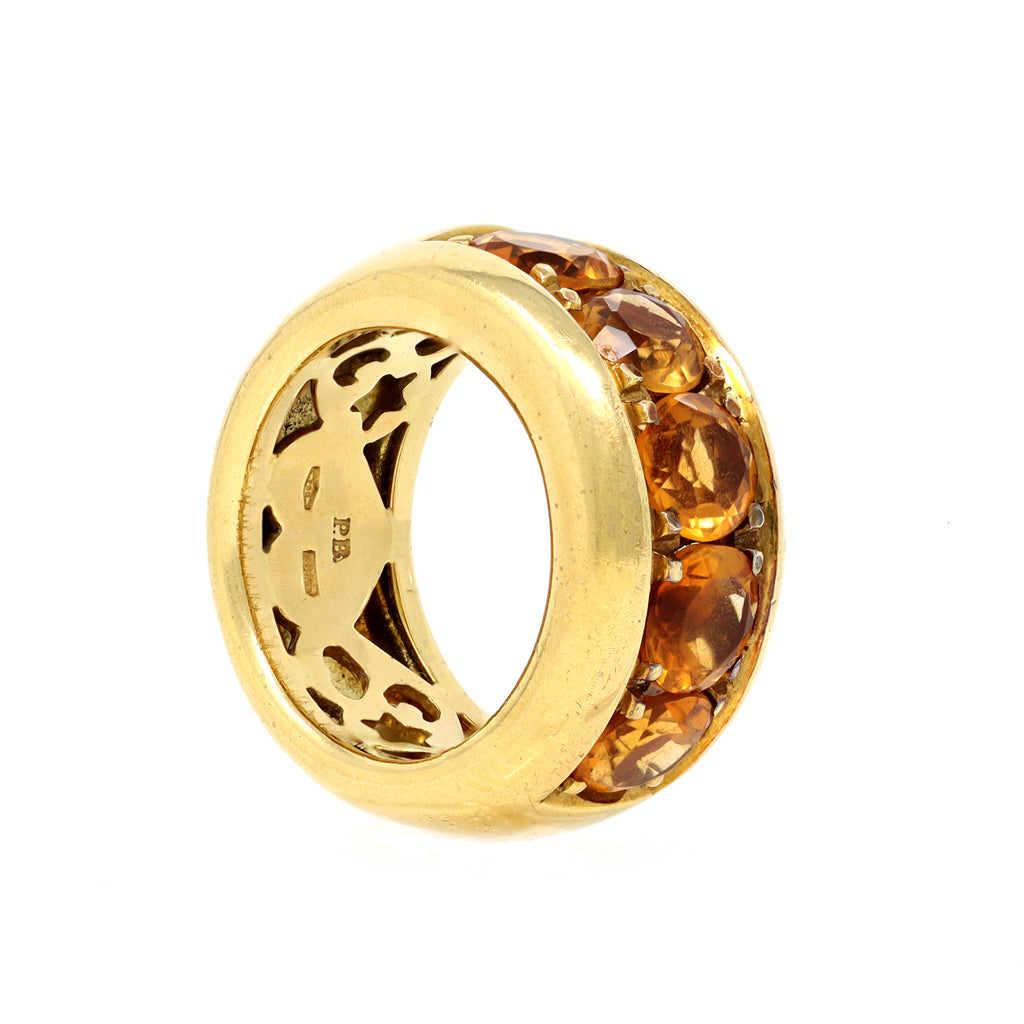 Signed Pasquale Bruni 18k Yellow Gold and Citrine Band Ring side view