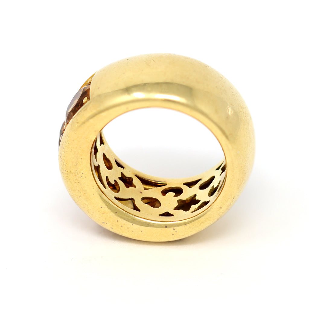 Signed Pasquale Bruni 18k Yellow Gold and Citrine Band Ring back view