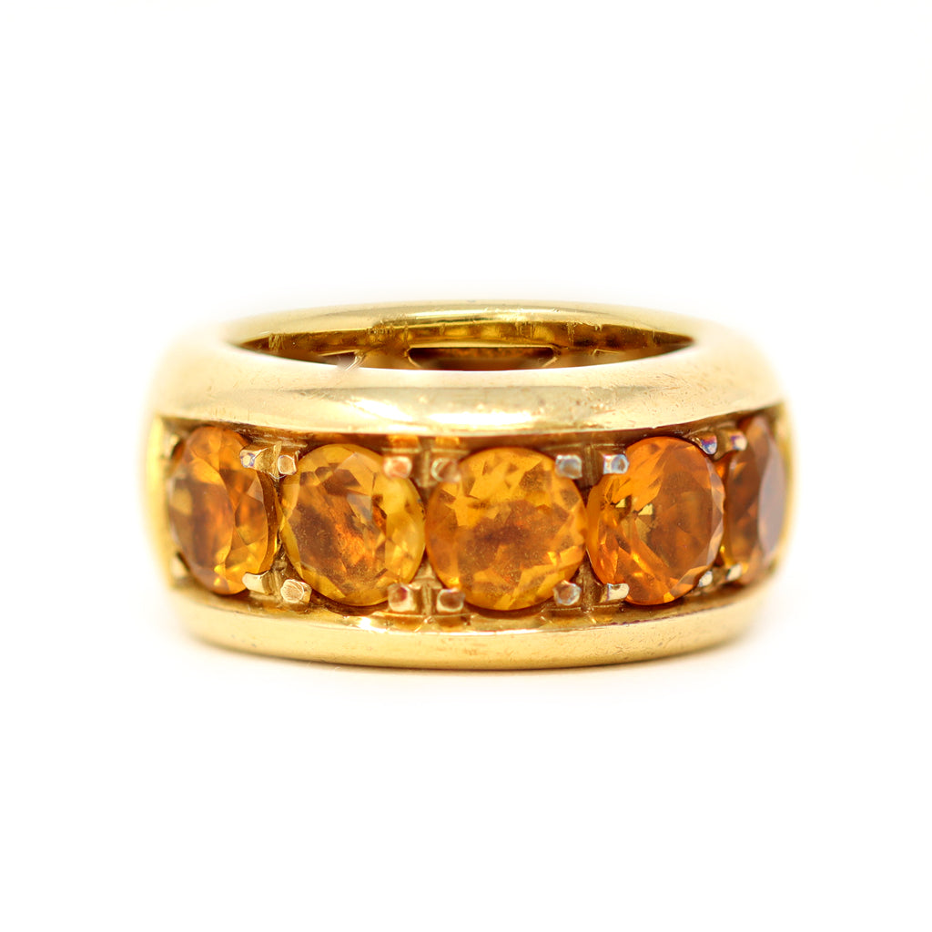 Signed Pasquale Bruni 18k Yellow Gold and Citrine Band Ring top view
