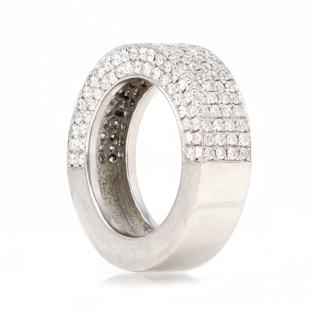 18 Karat White Gold Pave Diamond Band Ring angle view