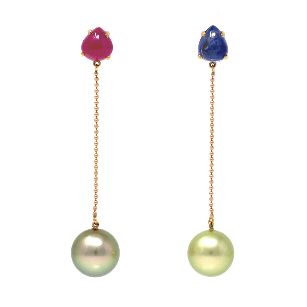Mismatched Sapphire and Ruby Cabochon with Pistachio Tahitian Pearl Earrings front view