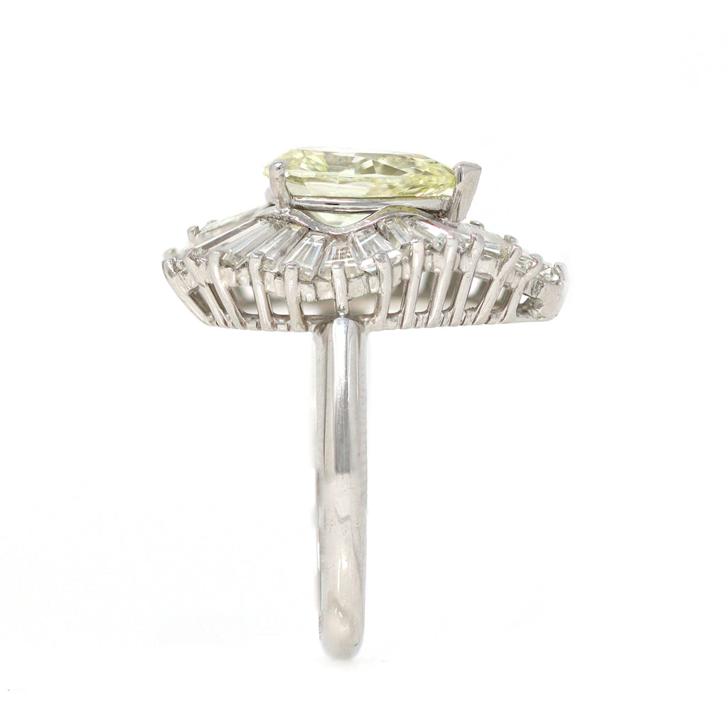 Pear-shape Diamond Ballerina Cocktail Ring in Platinum side view