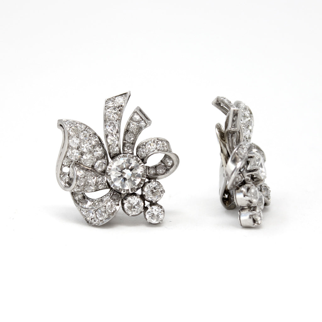 1940s Retro Platinum Diamond Ear-Clips front and side view
